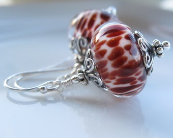 Bordello  Boro Lampwork earrings in sterling silver Valentine's day