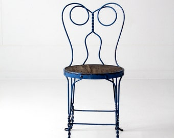 vintage ice cream parlor chair, blue iron cafe chair, metal bistro chair