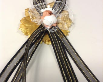 Black, White and Gold Baby Shower Capias