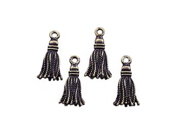 8 pcs Antique Bronze Mini Tassel Shaped Drop Pendant Charms | Bronze Tassel Charms, Bronze Tassel Pendant, Tassel Jewelry, Small Tassel