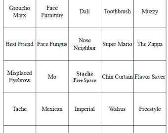 20 Individual Printable Mustache Bingo Cards for Baby Shower or Birthday Party