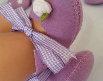 Lilac with white rose baby felt shoes