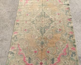 7.3x4.5 feet 223x136 cm, Bohemian Carpet Rug, Turkish Ethnic Rug, Anatolian Rug, Oushak Anatolian Carpet Rug Tribal Rug,Vintage Turkish Rug,