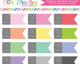 80% OFF SALE Silver Glitter Side Flags Commercial Use Label Clipart