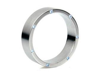 Palladium ring, blue diamond band, men's palladium ring, wedding band, men blue diamond, men wedding ring, commitment, palladium wedding