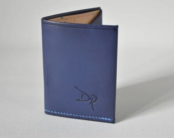 SLIMEST LEATHER WALLET blue 100% Real Leather Handmade in Spain.