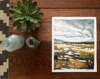 Original Aquarell, unter der Brücke, 8 x 10 Zoll abstrakte Landschaft