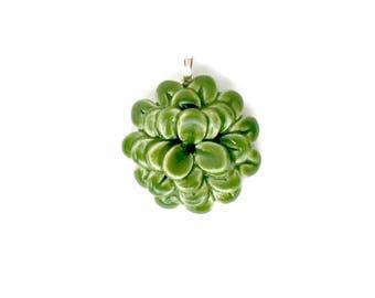 Succulent Porcelain Ceramic Pendant Green Flower Chrysanthemum Zinnia