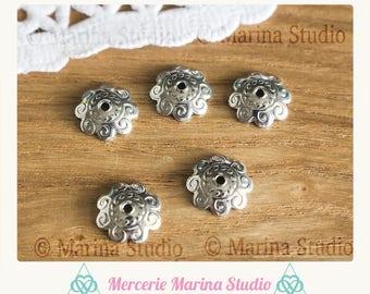 4 bowls stainless steel 11 mm flower filigree N11082 caps