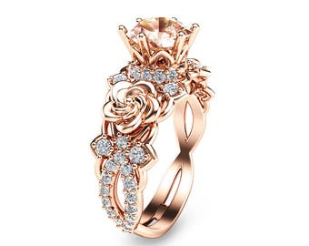 14K Rose Gold Morganite Engagement Ring Unique Morganite Engagement Ring Rose Gold Floral Engagement Ring