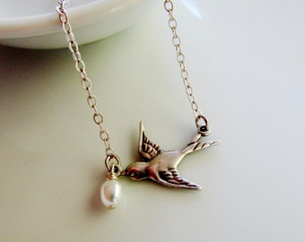 Silver Bird Necklace, Pearl Drop, Antique Silver, Silver Necklace, Bridal Jewelry, Bridesmaid Jewelry, Redpeonycreations