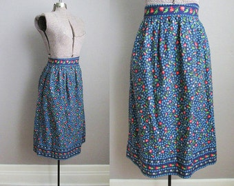 1940s Skirt 40s Vintage Dirndl Skirt Folk Blue Chintz Floral Cotton  / Small XS