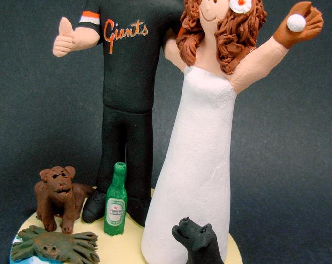 San Fransisco Giants Baseball Fans Wedding Cake Topper,San Francisco Giants Wedding Anniversary Gift, Baseball Wedding Anniversary Gift