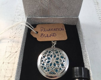Yoga Lotus Aromatherapy Diffuser Necklace Locket + FREE Essential Oil Custom Blend Gift