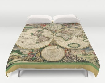 Old world map duvet cover doublefullqueenking bedding old world map duvet cover doublefull queen king cover blanket bedding bed gumiabroncs Images