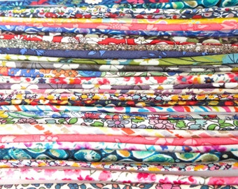 "10 x  12""-14"" pieces Liberty fabric ribbon cut-offs mystery grab bag, bracelet making, card making embellishments, scrapbooking supplies"