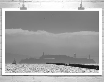 Alcatraz Photograph, Berkeley Pier Picture, San Francisco Bay Area Fog Photo, Sailing Art, Northern California Wall Art, Alcatraz Gift