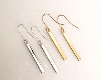 Petite drop bar earrings in silver or gold