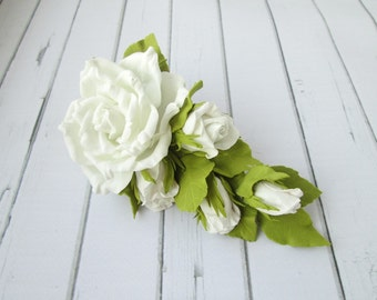 White Rose Hair Clip - Formal Flowers Wedding Side Hair Piece - Designer White Wedding Hair Accessories - Prom White Flowers Handmade Hair