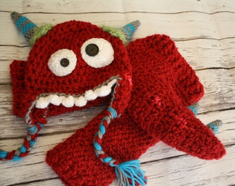 Monster Hat and Pants Set - Baby Monster Hat  with Pants and Tail - Monster Halloween Costume - Morty Monster Hat Set - by JoJosBootique