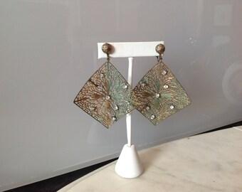 Chandelier dangling earrings with rhinestones.  Victorian inspired.