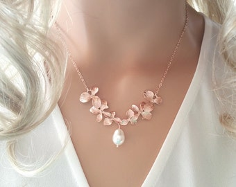 Rose Gold Pearl Necklace  Orchid Flower Necklace, Wedding, Bridesmaid gifts, Sister, Wife, mothers day gift from daughter mother day gift