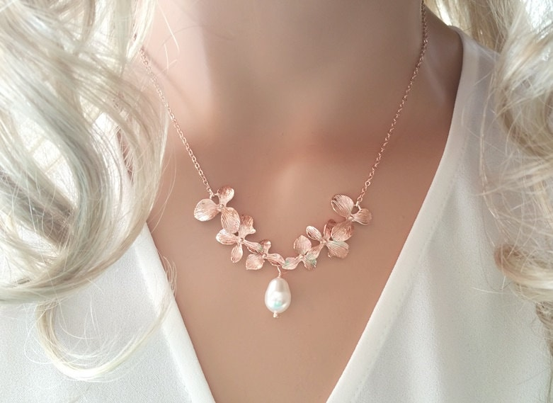 Rose Gold Pearl Necklace Orchid Flower Necklace Wedding
