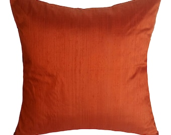 Rust orange dupioni silk pillow cover decorative orange silk throw pillow covar in stock sale. 20% discount. 16inch and 18 inch
