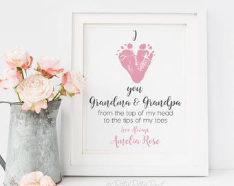 Gift for grandpa personalized fathers day for gift for grandparents from baby grandparents day christmas baby footprint art personalized your childs feet 8x10 inches unframed negle Image collections