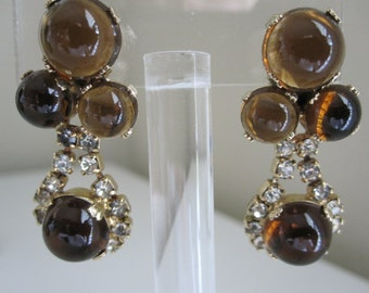 LUMINESCENT BROWN CABOCHON And Rhinestone Clip Earrings