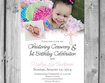 Christening Ceremony & Birthday Party Invitation