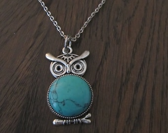Necklace Owl with Turquoise stone