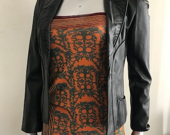 Black leather jacket woman size extra small .