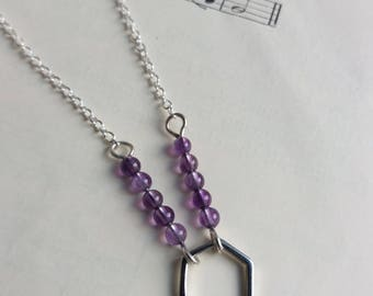 Silver and Amethyst Hexagon necklace - geometric - gift for February birthday - semi precious - nickel free