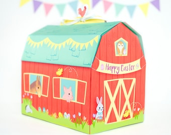Diy printable easter bunny gift boxes easter party favor printable easter barn gift box diy easter treat box easter printable easter gift negle Gallery