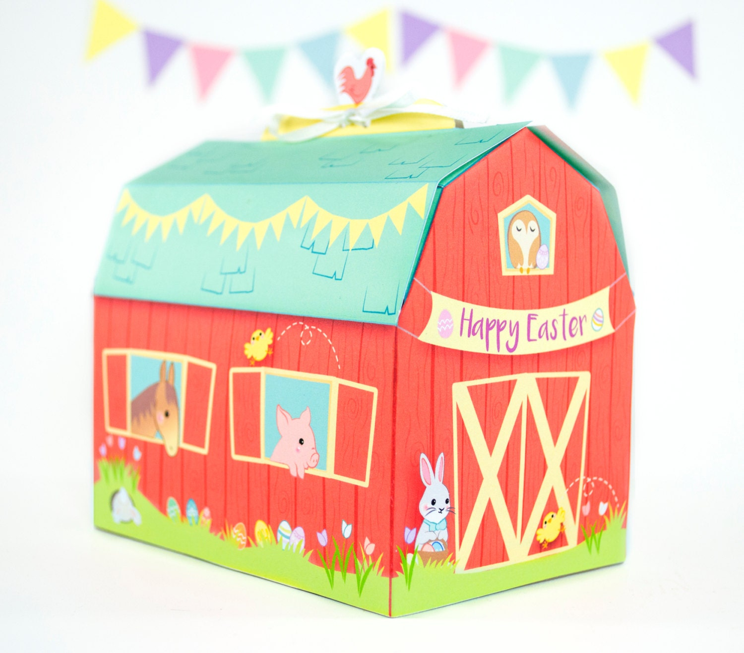 Printable easter barn gift box diy easter treat box easter zoom negle Images