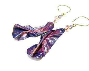 ON SALE Purple Folded Form Dangle Earrings Copper Earrings Purple Earrings Top Selling Jewelry Popular Jewelry Formed Earrings Hand Painted