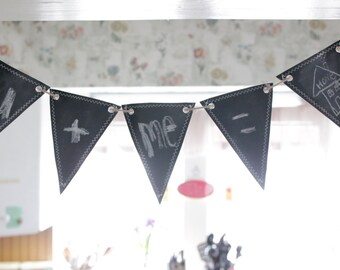 Chalkboard  Fabric Banner, Pennant 5 Triangles, reversible, double-sided ( small )
