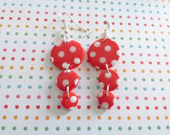 Earrings LUNA model ANDALOUSE red with white polka dots in polymer clay