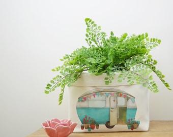 Caravan Canvas Storage Box, Storage Solution, Storage Basket, Fabric Basket, Fabric Organiser, Storage Bin, Nursery Storage, Caravan Gift