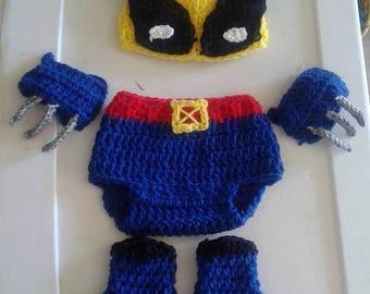 Crochet Wolverine Inspired baby costume, Xmen baby costume, Wolverine baby set,