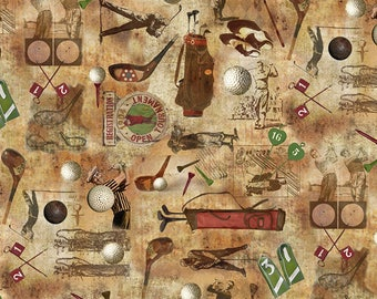Golf Fabric - Golf Motif, Golfer, Vintage Golf  - Timeless Treasures C 6004 - Priced by the Half yard