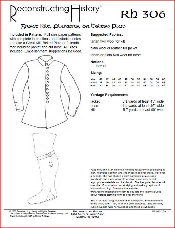 RC306 - Great Kilt, Belted Plaid or Filamore Sewing Pattern by ...