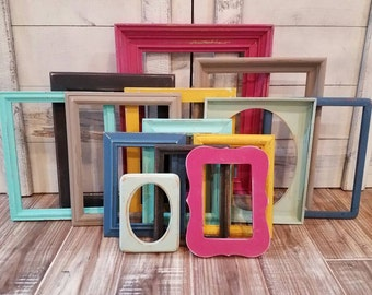 Bohemian GALLERY WALL Set Colorful Photo Frames Pop of Color BOHO Decor Set of Picture Frames Wall Decor