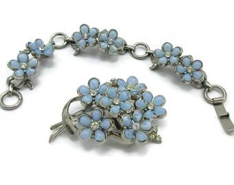 CORO Blue Glass Brooch Bracelet Set Rhinestone Forget Me Nots Demi Parure Bridal   Design Signed Vintage Costume Estate Jewelry PAULA