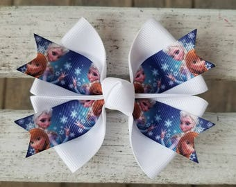 Frozen Elsa and Anna Snowflake Hair Bow (4 inch)