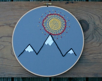 Sun and Mountains Embroidery Hoop (10-inch diameter)