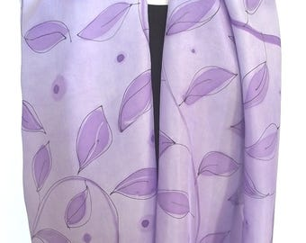 Hand Dyed & Painted Silk Scarf, Lavender with Painted Purple Leaves, Black Outline and Silver Metallic Details