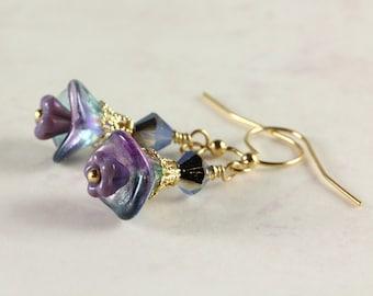 Purple and Teal Flower Earrings, Floral Earrings, Czech Glass Flowers, Swarovski Crystals