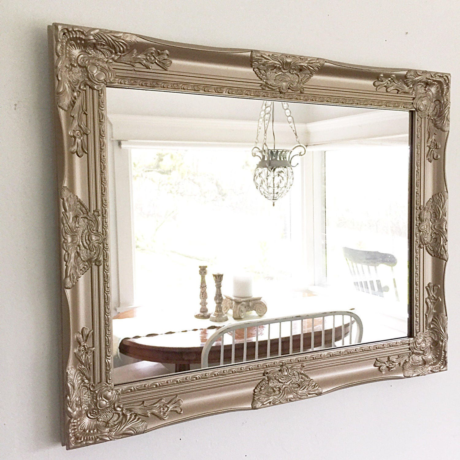 Brilliant gold bathroom mirror farmhouse mirror farmhouse - Farmhouse style bathroom mirrors ...